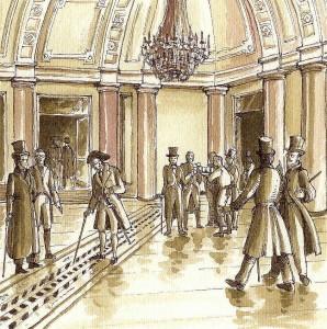 """I """"Deputati di Borsa"""" osservano la nuova Meridiana (1820)"""